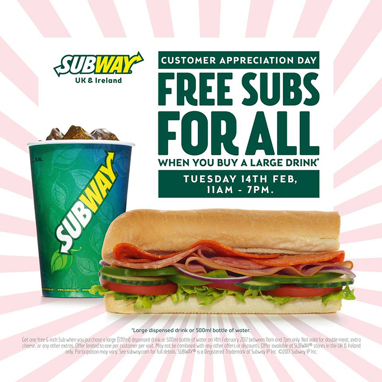 Subway Free Sub Large Drink