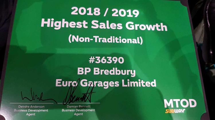 Ashton Road Subway with Sales Growth Award